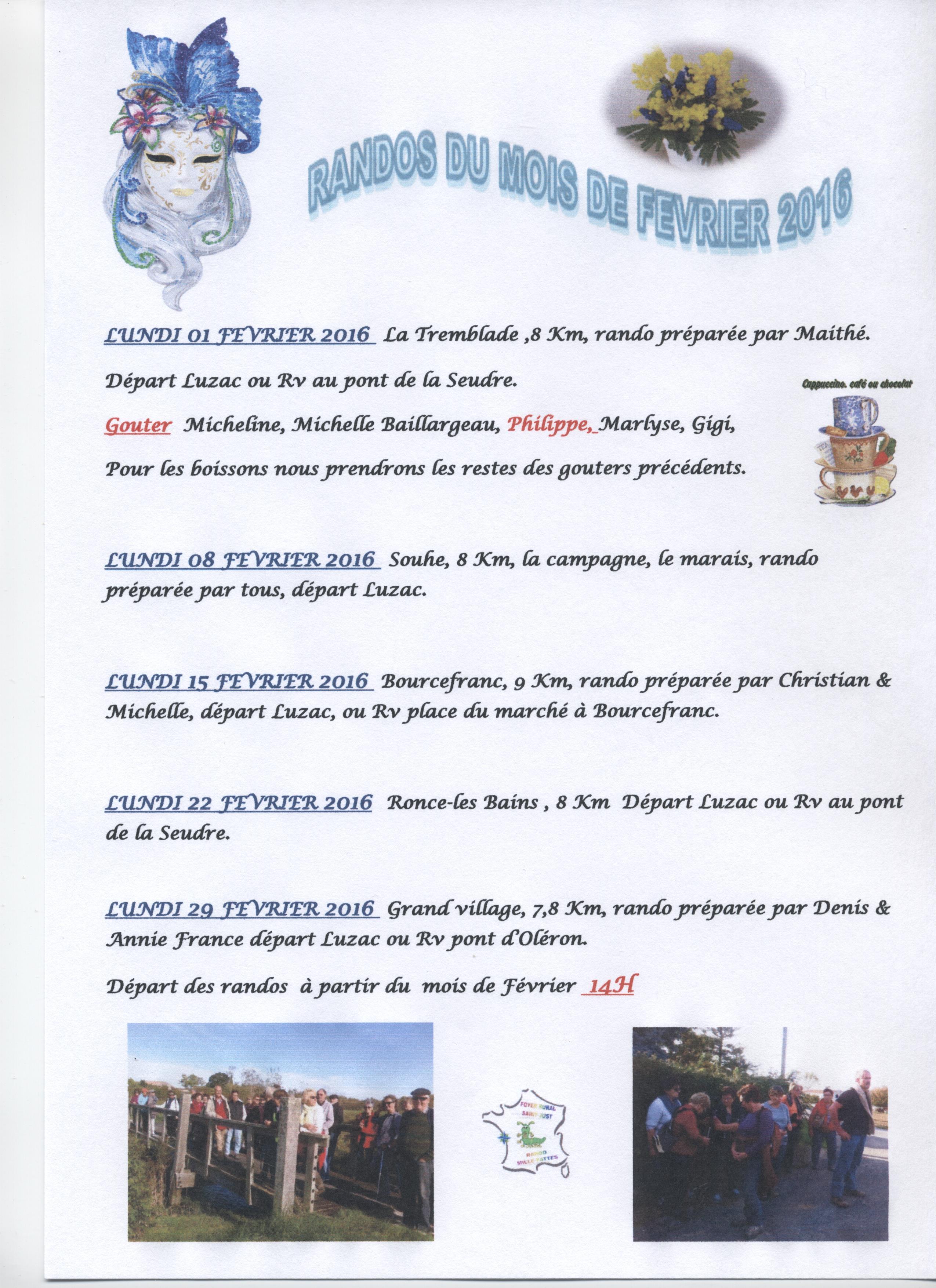 PROGRAMME DES RANDOS DE FEVRIER 2016