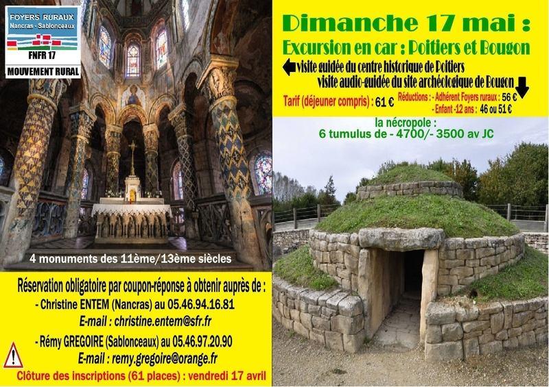 excursion Poitiers sablonceaux